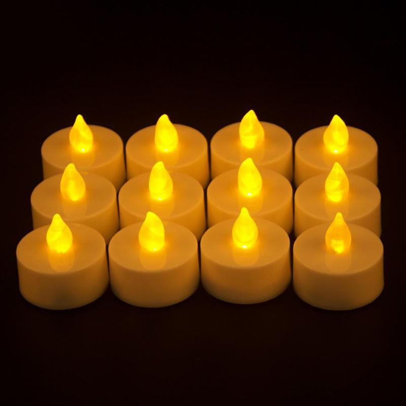 12 Pcs LED Tea Light Candle Tealight Flameless Flickering Battery Operated Christmas For Home Wedding Party Decor
