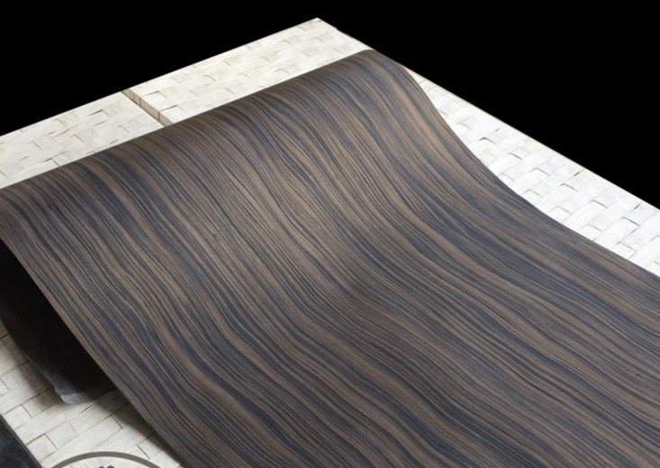 1Pieces  L:2.5Meters Wide:60cm  Thickness:0.25mm  Technology Wave Pattern Macassar Ebony Wood Veneer(back Nonwoven Fabric)