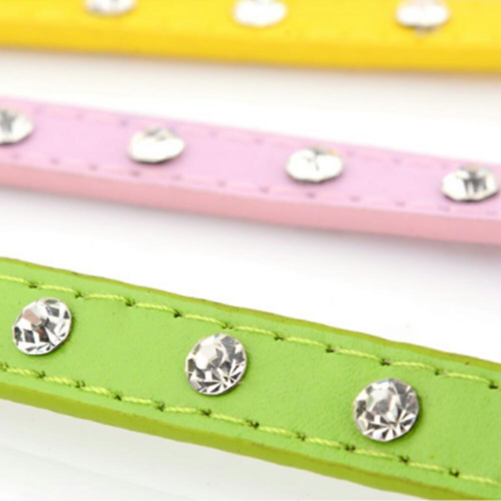 Collar para mascotas de piel sintetica con piedras imitacion diamante 14