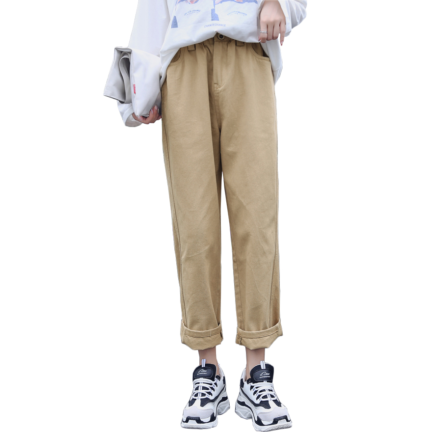 Women High Waist Denim Cotton Trousers 2019 Autumn Korean Ulzzang Harajaku Harem Cargo Pants Straight Wide Leg Pantalon Mujer