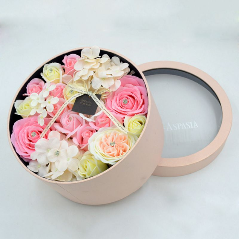 Rose Soap Flower Round Gift Box Flower Birthday Gift Home Garden Festive Party Supplies