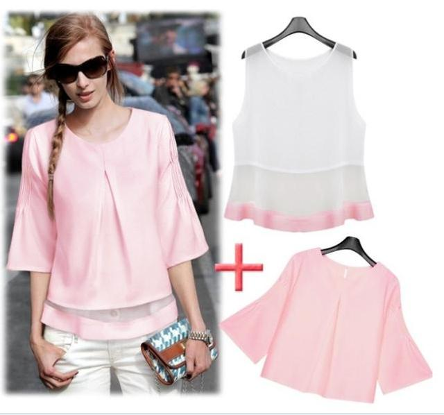 New 2014 European Lovely Temperament Fold 7 Sleeve Chiffon Blouses Babydoll  Tops And Chiffon Vest Women - New 2014 European Lovely Temperament Fold 7 Sleeve Chiffon Blouses