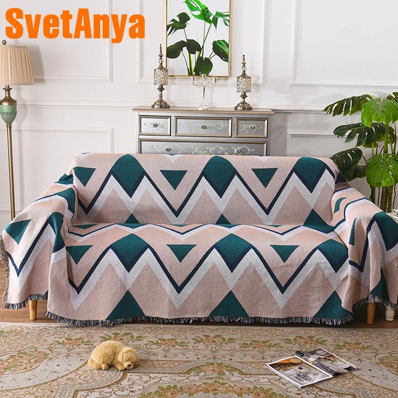 Svetanya เรขาคณิตโซฟาผ้าเช็ดตัวผ้าฝ้ายผ้าลินินผ้า Jacquard เดี่ยวสามที่นั่ง-ใน ผ้าคลุมโซฟา จาก บ้านและสวน บน   1