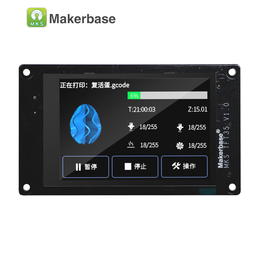 Makerbase MKS TFT35 V1.0 сенсорный экран, умный дисплей, контроллер, части 3d принтера, 3,5 дюйма, Wi-Fi, беспроводное управление, предварительный просмотр ...