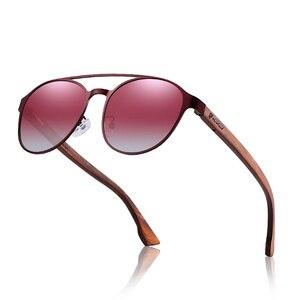 Image 2 - HU gafas de sol polarizadas para hombre y mujer, marco de acero inoxidable, con bisagra de resorte de madera, con protección UV400, GR8041