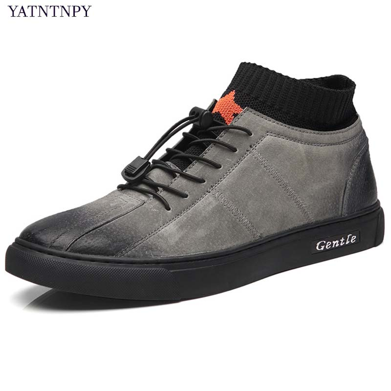 YATNTNPY Brand New Arrival Men Shoes High Quality Genuine Leather Sneakers Man Casual Platform Shoes Comfort Retro zapatos top brand high quality genuine leather casual men shoes cow suede comfortable loafers soft breathable shoes men flats warm