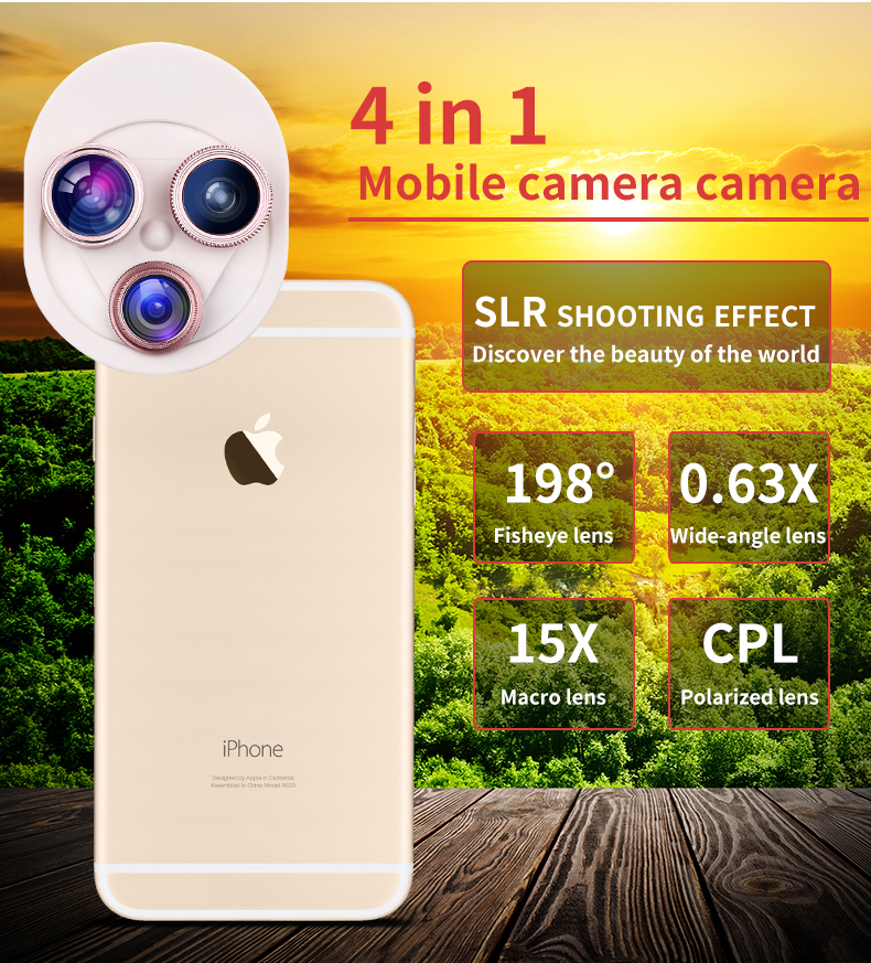 Fish eye Lens 4in 1 Clip-on Cell Phone Camera 180 Degree Fisheye Lens+Wide Angle CPL+Macro Lens for iPhone 7Plus Xiaomi & More 4