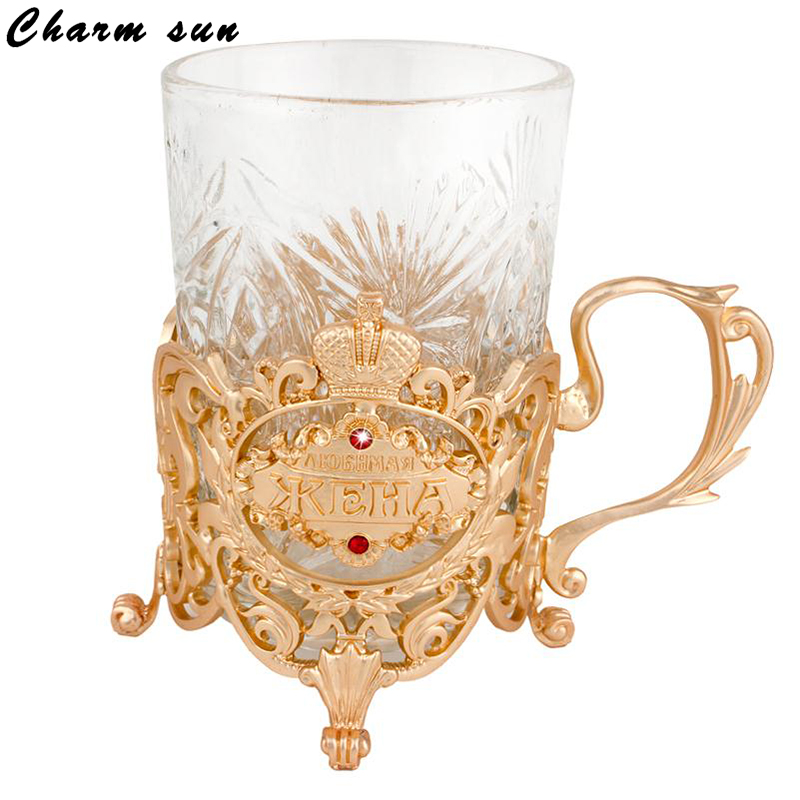 Gold perdurable cups cup beverage coaster holder metal heat resistant tea cup and cup saucer set