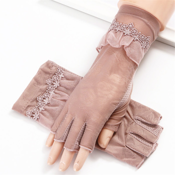 2019 Women Half Finger Gloves  Thin Section Ice Silk Spring  Stretch Lace Summer Sunscreen UV Protection Summer Skid 3-TBFS03 2019 women half finger gloves thin section ice silk spring stretch lace summer sunscreen uv protection summer skid 3 tbfs03