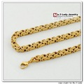 "25"", 5mm,Gold Plated Stainless Steel Chain Necklaces Mens Jewellery, Byzantine Style, Wholesale&Free Shipping WN035"