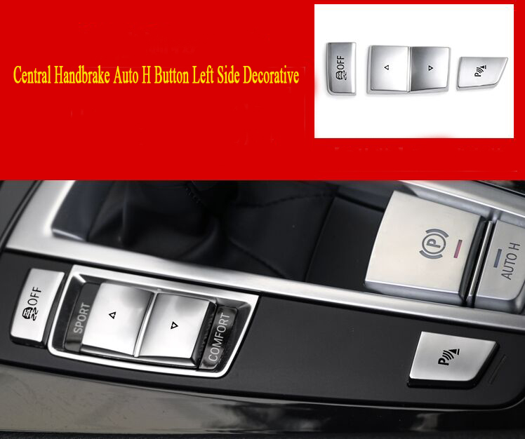 Car Styling Central Handbrake Auto H Button Left side Decorative Cover Trim For <font><b>BMW</b></font> 5/6/7 series f10 <font><b>GT</b></font> <font><b>F07</b></font> auto Accessories image