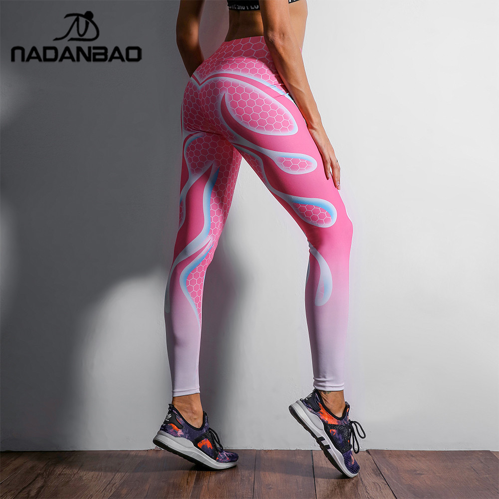 92d7a77bd5 NADANBAO 2018 New Fashion Honeycomb Women Leggings Pink White Digital Print  Leggins Workout Sporting Pants