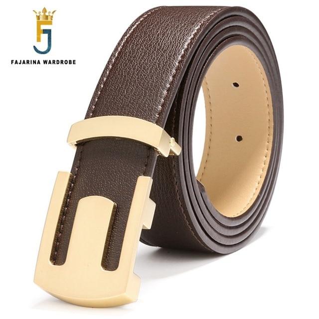 Fajarina buena calidad diseñador negro cuero Correa e carta hebilla  cinturones hombres 100% del zurriago 11777bebb7cf