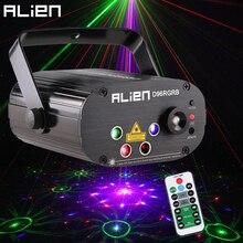 ALIEN חדש 96 דפוסים RGB מיני לייזר מקרן אור DJ דיסקו המפלגה מוסיקה לייזר שלב תאורת אפקט עם LED כחול חג המולד אורות