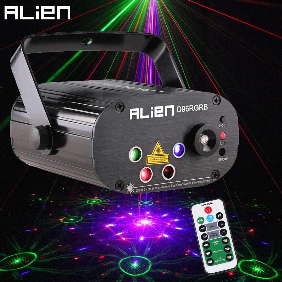 Alienígena nuevos 96 patrones RGB Mini luz láser proyector fiesta de discoteca DJ música láser etapa efecto de iluminación con LED azul luces de Navidad