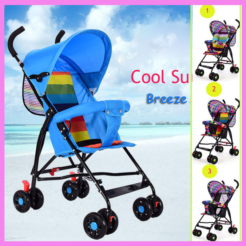Breeze Summer Folding Four Wheel Baby Stroller Portable Travel System Beach Umbrella Baby Carriage Light Pushchair Pram Buggy summer mosquito net travel folding portable four wheel cart carriage reversible car baby stroller lightweight pram pushchair