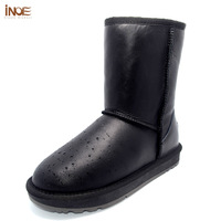 Classic Mid Calf Snow Boots For Women Waterproof Real Sheepskin Leather Nature Wool Fur Winter Shoes