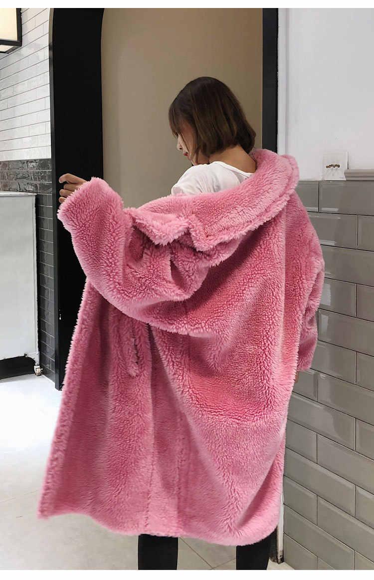 945df07eeb ... 2018 new long winter warm coat teddy bear faux fur pink and leopard  print women coat ...