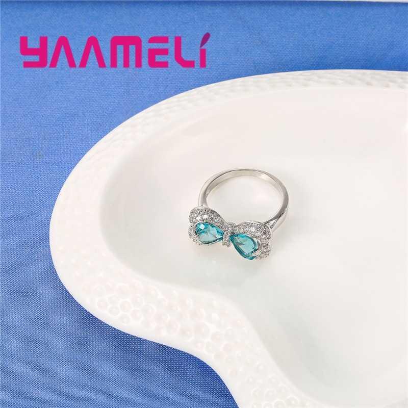 Adorable pajarita Aqua azul claro Zirconia cúbica mujeres niñas fiesta joyería 925 anillo de plata de ley de alta calidad
