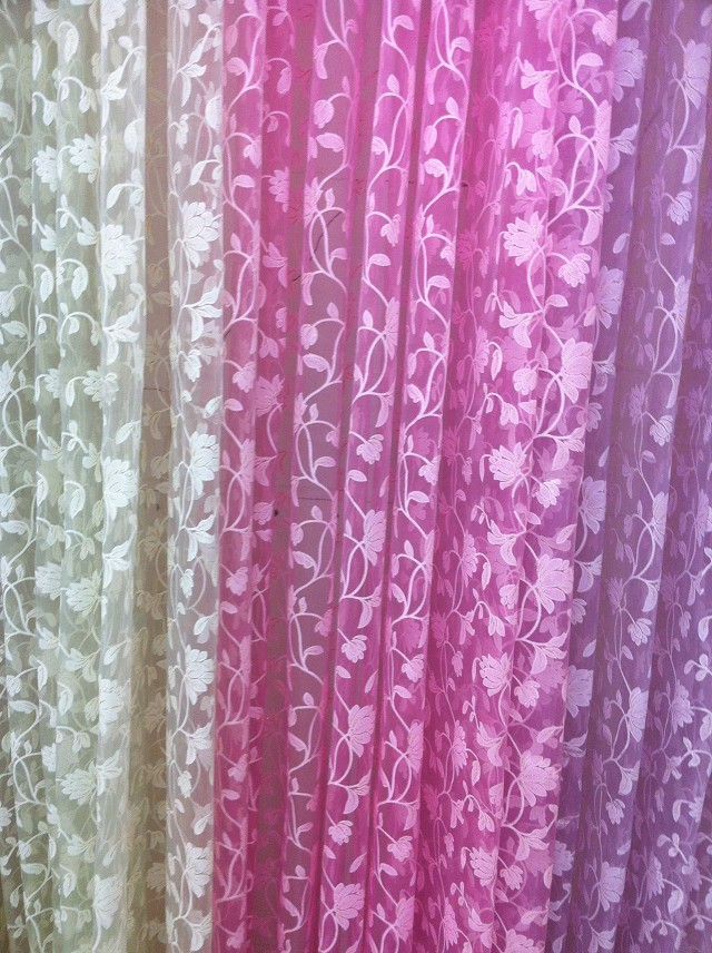 CS 144 Attractive Fashion Print Pastorale Floral Voile Door Sheer Window Curtain fabrics Room Curtain fabric Divider