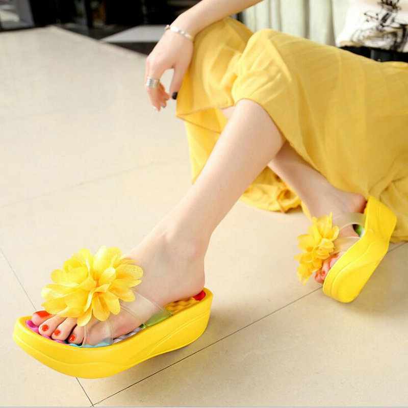 Summer Sandals Wedges Flip Flops Platform Slippers Shoes slippers sandalia New Women Sandals Fashion Flower shoes MM-92 new 2017 fashion women sandals summer style wedges women s sandals platform black slippers flip flops open toe high heeled