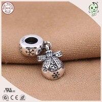 Hot Sale Christmas Style 925 Genuine Silver Snowflake Gift Bag Charm Fitting European Famous Bracelet