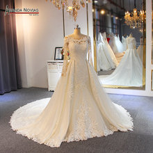 Sparkling mermaid wedding dress with detachable train 2019