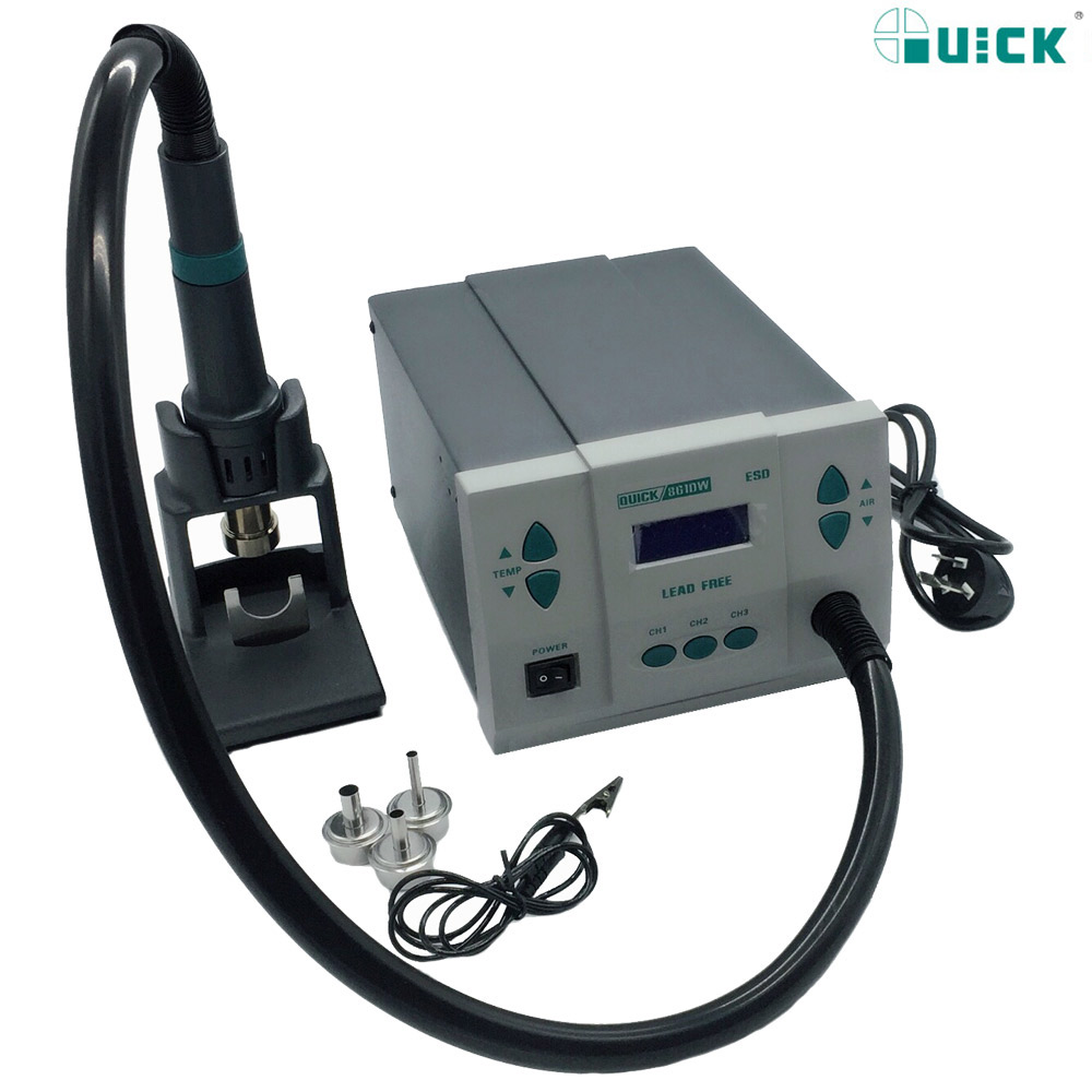 Original 1000W220V QUICK 861DW heat gun lead-free hot air soldering station The microcomputer temperature Hot Air Rework Station original quick 861dw hot air rework station 1000w 220v heat gun lead free soldering station fix phone repair bga chip ic tools