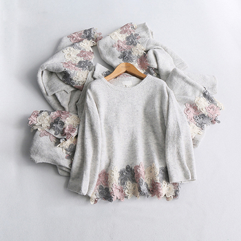 Lace O-Neck Embroidered Sweater