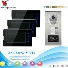 Yobangsecurity Видеодомофоны 7 «дюймов двери видео phone home Дверные звонки домофон Системы RFID дверца Камера для 3 устройство квартира
