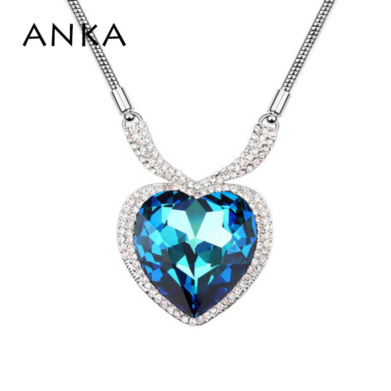 Crystals From Austria Sweater Necklace Rhinestone Charm Long Chain Heart Design Rhodium Plated For Women Love Gift #93592