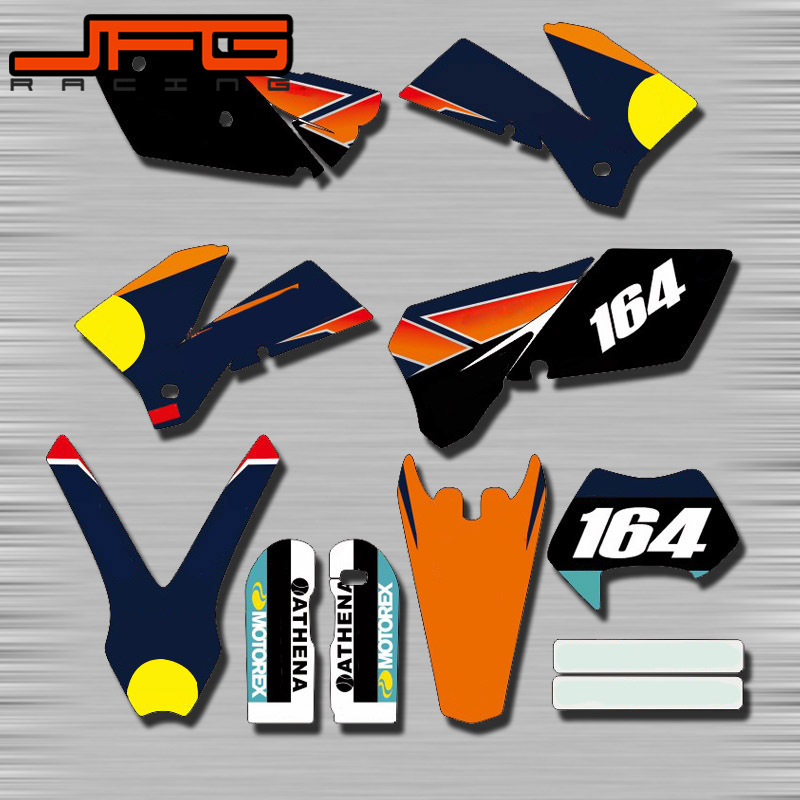 Customized Graphics Background Decals <font><b>Stickers</b></font> Kits For <font><b>KTM</b></font> EXC 125 150 250 300 350 <font><b>450</b></font> 505 525 530 2005 2006 2007 EXC125 EXC250 image
