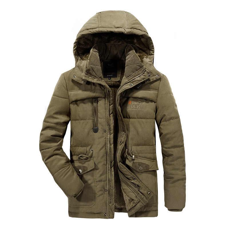 NIANJEEP 6XL 7XL 8XL الرجال الشتاء سترة سميكة الدافئة سترة الصوف الفراء مقنعين سترة عسكرية معطف جيوب سترة واقية سترة الرجال