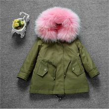 New Arrival 2016 Girls Winter Jackets with Fur lining Boys Camo Parkas Fox Fur Collar Kids Long Coat for winter Two-pecies Set
