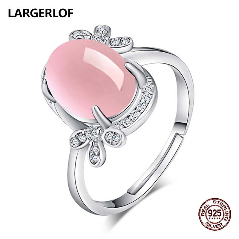LARGERLOF 925 Sterling Silver Rose Quartz Ring Women Fine Jewelry 925 Silver Jewelry Ring Silver 925 RG47009 largerlof 925 silver ring women handmade fine jewelry silver 925 jewelry ring silver 925 jz12077