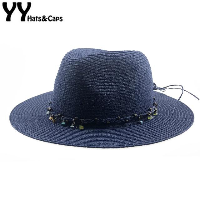 31cccb563a4ee Summer Panama Hat for Women Straw Sun Hats Wide Brim Sun Visor Cap Solid  Straw Jazz Hat Beach CAP Sombrero Panama Gorras YY18103