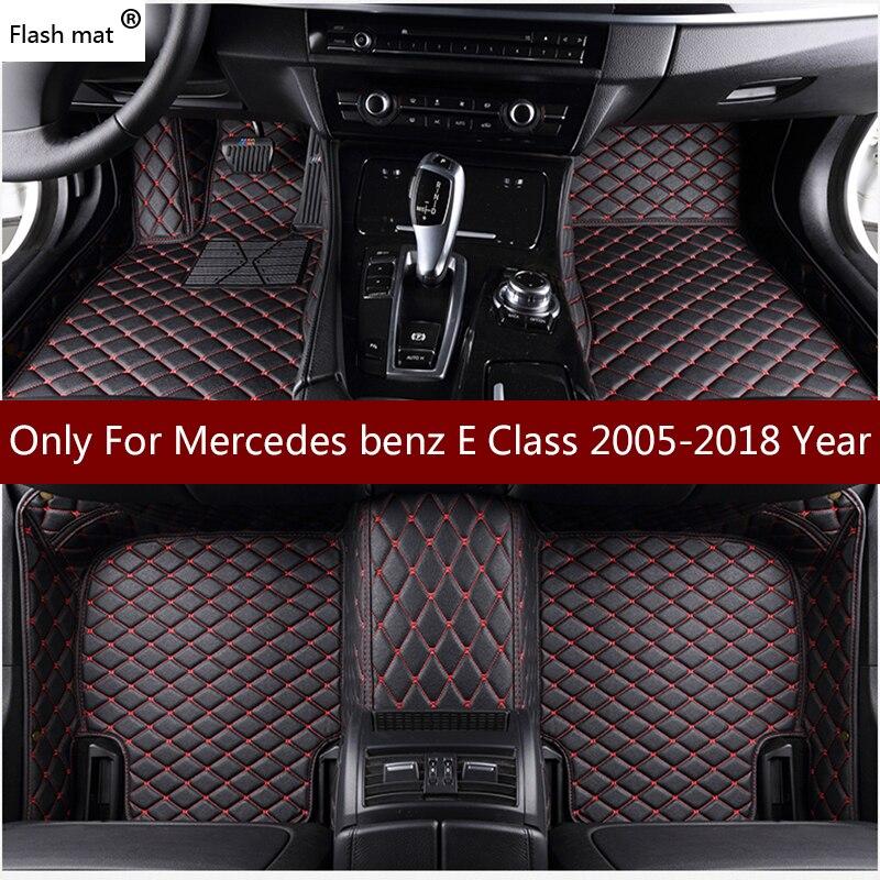 Flash mat leather car floor mats for Mercedes benz E Class w211 2005 2016 2017 2018 Custom auto foot Pad automobile carpet cover
