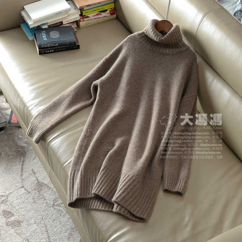 2019 New Fashion Double thickening loose turtleneck cashmere sweater female casual solid knitted sweater cashmere pullovers