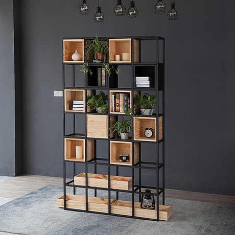 Bookcase Living Room Furniture Home Furniture wooden+steel bookshelf  cabinet industrial book stand 120*30*210 cm modern new