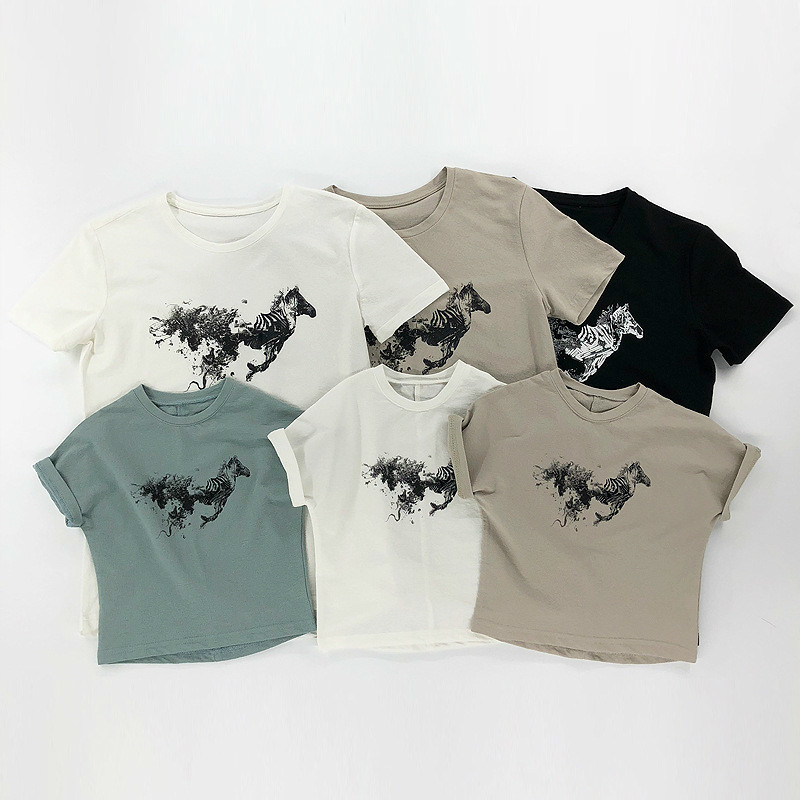 Mother Father Daughter Son T Shirts Family Matching Horse Print Short Sleeve Tops Family Look Matching Clothes Tees