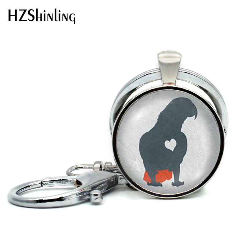 2018 New Arrival African Grey Parrot Keychains Cute Bird Keyring Parrots Photo Jewelry Glass Dome Key chain Hand craft Keyrings