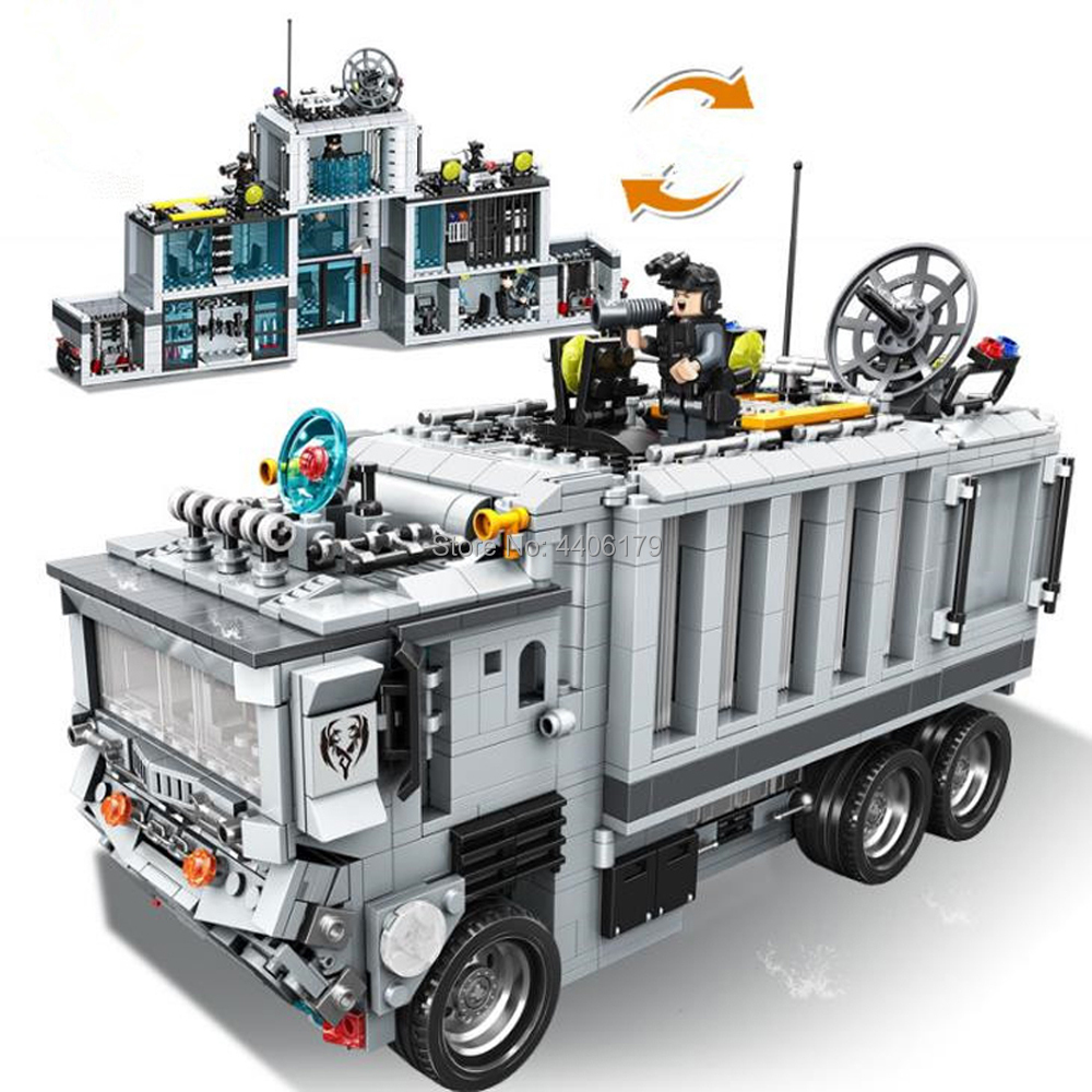 hot LegoINGlys military WW2 Mobile command vehicle truck war base Building Blocks mini army figures brick toys for children gift lepin 14042 knights heavy armed mobile tracker model building blocks brick toys for children christma gift legoinglys 72006