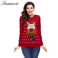 SUNNOW New Women Sweater Ladies Print Sweaters Christmas Warm Jumper Brief Sweater Clothing Female Pullover Autumn Winter Tops