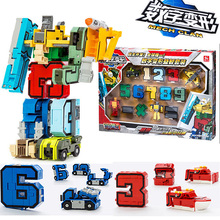"""Educational Leksaker barn magi """"10 i 1"""" nummer transformation robot siffror pussel pojke leksak julklapp för barn gratis frakt"""