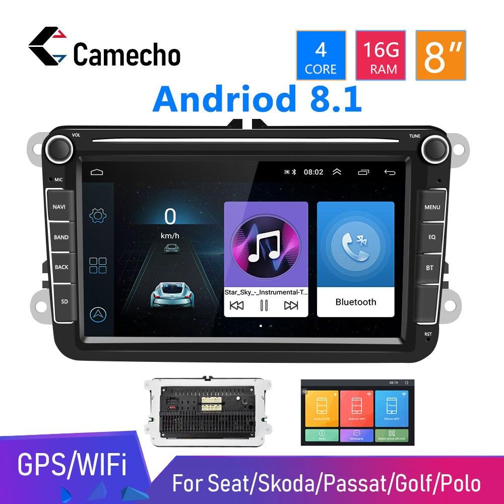 Autoradio stéréo Bluetooth 2 Din Audio pour siège/Skoda/Passat/Golf/Polo Camecho Android 8.1