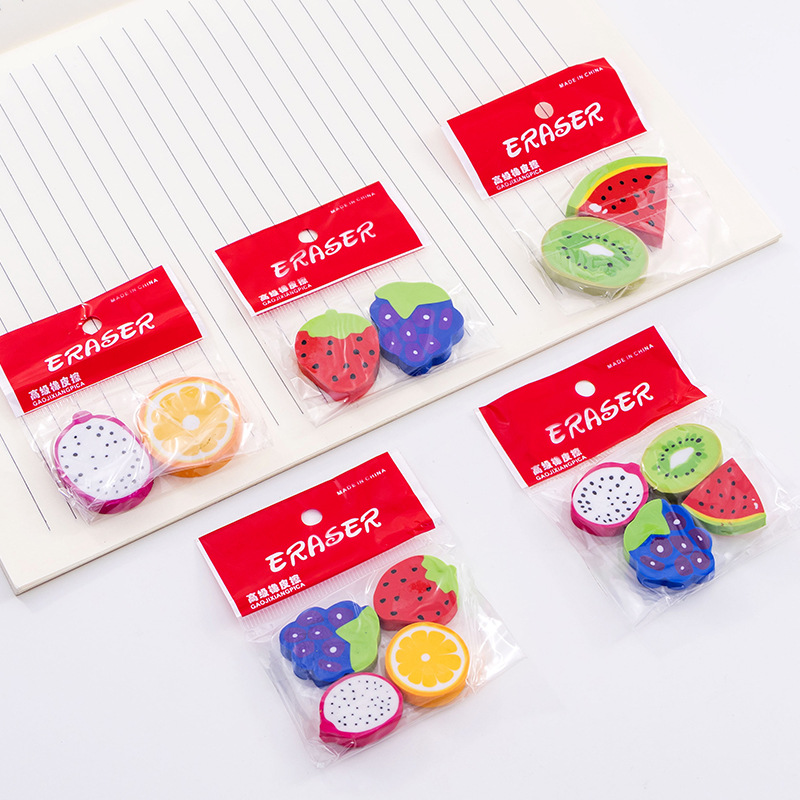 1 Bag Watermelon Kiwi Creative Fruit Shape Eraser Student Eraser Wholesale Stationery