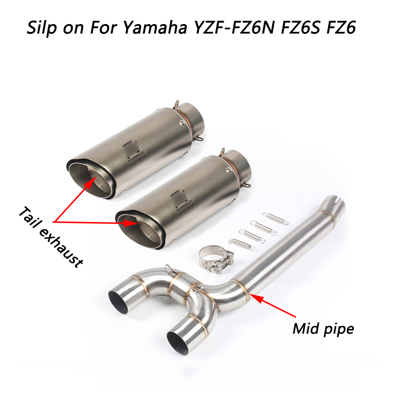 FZ6N FZ6S FZ6 Motorcycel Stainless Steel Middle Connecting Pipe & Tail Exhaust Muffler Pipe Silp on For Yamaha YZF FZ6N FZ6S FZ6