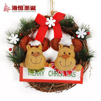 NEW Festival Decoration Snowman Christmas Elk Wreath 30cm Red Bow Santa Claus Rattan Merry Christmas Wreaths Free Shiping
