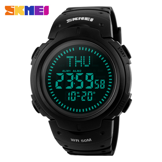 SKMEI men sport watches digital compass watches LED calender world time alarm clock 50M waterproof chronograph wristwatches 1231