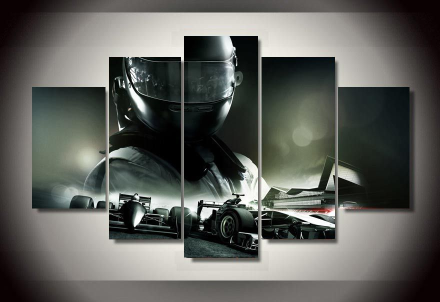 framed printed f1 racing car 5 piece picture painting wall art room decor print poster picture